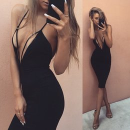 $enCountryForm.capitalKeyWord Canada - Black Red Sexy Deep V Neck Hollow Out Bodycon Bandage Dress Womens Stretchy Backless Off Shoulder Tight Package Hip Party Dress Casual Dress