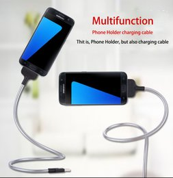 Wholesale New Metal Mobile Phone Charging Stand Data Cable Tripod Charger Dock USB C Type C Micro For Android Universal DHL