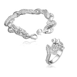 hot sale Silver Dragon silver plated jewelry sets for women WS775c,nice 925 silver necklace bracelet earring ring set on Sale