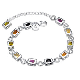 Silver Stone Bracelets For Girls NZ - 925 Sterling Silver Plated Jewelry Square Inlaid Colorful Stone Charms Bracelet New Year Gift for Girl & Women Crystal Bracelets Wholesale