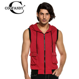 Maillot De Survêtement Maillot À Capuche Pas Cher-Vente en gros-COOFANDY Sweatshirt Hommes Urban Fashion Solide Casual Modèles de base V cou Zipper Pack hedging Capuche Patchwork Sans manches Gilet