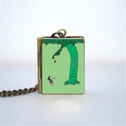 Vision alloy online shopping - 12pcs The Giving Tree Book Locket Necklace BRONZE tone VISION z2