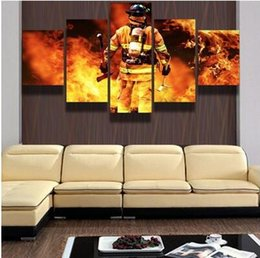 No Frame FIREFIGHTER HERO Canvas Print Painting 5 Panels Wall Art Home  Decor Picture For Living Room