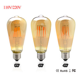Discount replacing incandescent bulbs - Vintage LED Edison Filament Bulb Dimmable ST64 E27 220V 2W 4W 6W 8W Retro Edison Bulbs 110V Led lamp Replace Incandescen