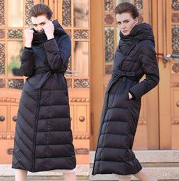 down coats for ladies Canada - Slim Fit Black Women Long Down Coat White Duck Down Warm Winter Coats For Ladies Clothing Hooded Belted Jacket