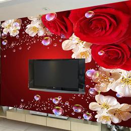 Free Shipping 3D Stereo Custom Wallpaper Mural Bedroom Sofa TV Background  Red Rose Living Room Wallpaper