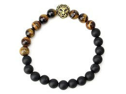 lion charms gold UK - Men Jewelry Wholesale 2 Styles 8mm Natural Tiger Eye and Matte Onyx Stone Beads Lion Head Bracelets For Party Gift B339S