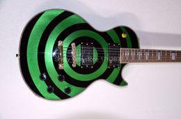 $enCountryForm.capitalKeyWord UK - Custom Shop Zakk Wylde bullseye Metallic Sparkle Green Black Electric Guitar EMG Pickup Gold Hardware Block White Pearl Fingerboard Inlay