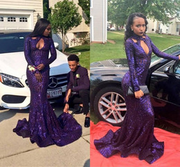 american custom made prom dresses 2019 - Sexy Keyhole Mermaid Long Sleeves Prom Dresses Purple High Collar Bling Sequined Long Train African Americans 2K18 Party