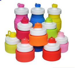 Discount bottle folded - Silicone Collapsible Water Bottle ravel Cups Kettle Foldable Cup For Outdoor Foldable Mug Water Cup 5 color 530 ml KKA15