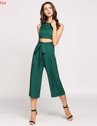 Combinaisons Vertes Pour Femmes Pas Cher-Hot Women O-Neck Hollow Out Jumpsuits Cropped Empire Solid Office Elegant Ladies Capri Long Pantalons Wide Leg Pantalons Jumpsuits Green SVH033023
