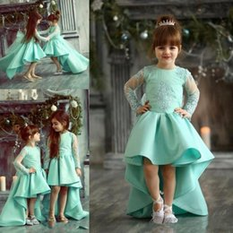 Barato Vestidos De Renda Longa E Turquesa-Turquoise High Low Girls Storeante Vestidos Lace Appliques Sheer Long Sleeves Flower Girl Vestidos para casamento Baby Birthday Party Dress