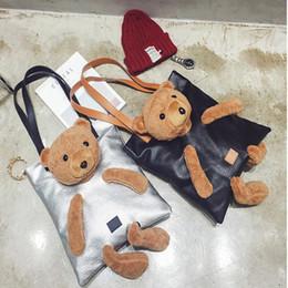 Bear Tote Bags Canada - Cute Bear Shoulder Bags Top-Handle Bags Pu Leather Big Women's Handbags Vintage Tote Bag High Quality Black For Women