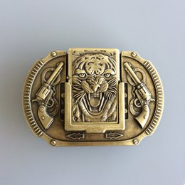 gun men belt buckle UK - New Vintage Bronze Plated Tiger Guns Lighter Belt Buckle Gurtelschnalle Boucle de ceinture BUCKLE-LT016 Brand New Free Shipping