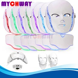 best facial device Canada - Best Price Facial Neck Skin Care Anti Spots Pimples 7 Colors Photon PDT Led Mask Blue Green Red Light Therapy Beauty Device