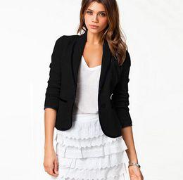 Suits Contrasting Lapels Australia - Autumn Women Jacket Formal Elegant Lapel Neck Slim Ladies Busniess Suit Office Work Long Sleeve Button Plus Size Gray Black 170518-B