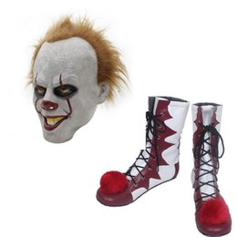 Venta De Accesorios De Zapatos Baratos-Venta caliente Stephen King's It Pennywise Cosplay Shoes and Mask Horrible Clown Boots Custom Halloween Christmas Accessories
