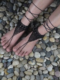 christmas crochet gifts 2018 - Beach wedding Crochet White Barefoot Sandal, Feet thongs, Beach Shoes, Wedding Accessory, Nude Shoes Victorian Sexy Lace