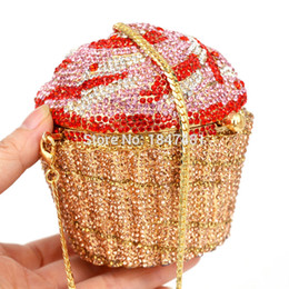 Discount pp leather - Wholesale- Designer Brand Luxury Crystal Evening Bag Fashion Cupcake Diamond Clutch Soiree Purse Women Wedding Bride Cak