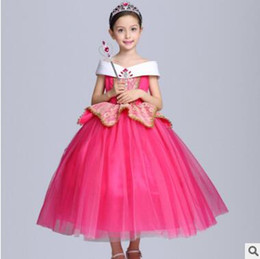 Costumes De Style Vestimentaire Princesse Pas Cher-Aurora Princess Halloween Party Evening Costume Enfants Cosplay Dress Robes de soirée Girl Princess Pearl Dress Vêtements pour enfants Robes pour filles