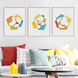Geometric Art Print Canada - Modern Original Colorful Abstract Geometric Shape Canvas A4 Art Print Poster Nordic Wall Pictures Home Decor Painting No Frame