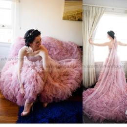 beaded wedding dresses detachable skirt 2019 - Luxury two pieces high low wedding dresses with detachable train heavy beaded crystals ruffles overskirt tulle country w