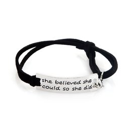 """Discount letter tags jewelry - Wholesale- QIHE JEWELRY """"she believed she could so she did""""Encouraged Inspirational Letter Bracelet Tag Charm"""