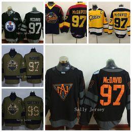 e814f88d6 Edmonton Oilers 97 Connor McDavid 99 Wayne Gretzky Ice Hockey Jersey Black  Yellow 2017 2017 18 Season Edmonton Oilers Jersey Captain C Patch ...