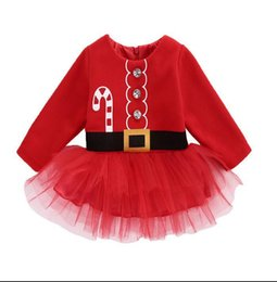 mermaid tutu NZ - 4 styles Christmas girls red long sleeved lace dress cute children's cotton mesh skirt fringed tutu dresses