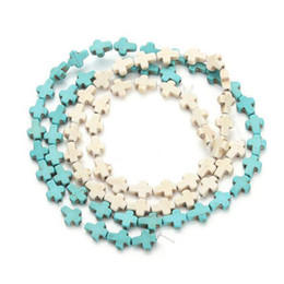 $enCountryForm.capitalKeyWord NZ - 38pcs pack 0.8cm*1cm*0.3cm Cross Loose Semi Precious Stones Spacer Beads Synthetic Turquoises Seed Beads DIY Jewelry Necklace Loose Beads