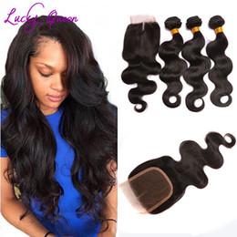 Pure Peruvian Body Wave Hair Canada - Peruvian Virgin Hair Body Wave With Closure Grade 8A Hair Company Bundles With Closure Short Human Hair Weave With Closure