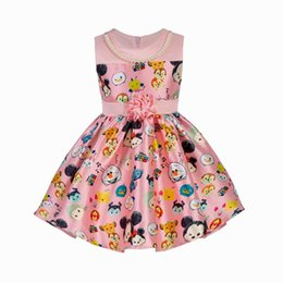 Robe Collier Été Pas Cher-Robes dessinées filles Mode mode d'été Motifs Printed Pink Baby Girls Sundress With Necklace Enfant Vêtements E1683