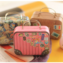 6pcs Lot European Type Vintage Suitcase Shape Candy Storage Box Wedding  Favor Tin Box Cable Organizer Container Household