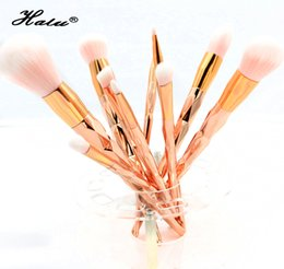 China New Dazzle 10Pcs Unicorn Diamond Makeup Brushes Kit Set Powder Foundation Eyeshadow Eyeliner Lip Brush Cosmetic Tools Diamond Shape Handle suppliers