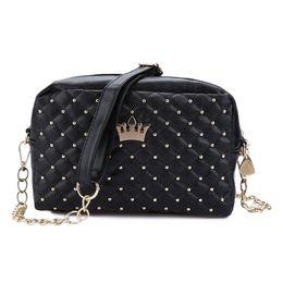 Chinese  2017 Korean Women Handbag Female Crown Rivet Chain Shoulder Bag Ladies PU Leather Crossbody Messenger Small Phone Bags manufacturers