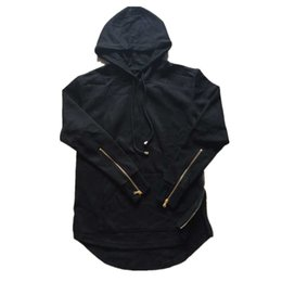 Chinese  Wholesale-British Mens Hoodies Hip Hop Side Zipper Arc Cut Sweatshirt Black Gray Z1071 manufacturers