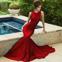 Robe Rouge Des Dames Pas Cher-Red Sexy Mermaid Robe de soirée robe de soiree 2017 Arabie Saoudite Lady Gowns Long Party Gowns Robes formelles Prom