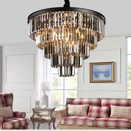 Vintage black iron chandelier online shopping - American black iron art crystal chandeliers dining room light chandeliers light lighting bedroom lamp smoke gray crystal lamp