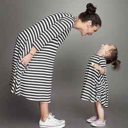 Discount mother daughter clothes matching - INS Family Matching Outfits dress 2017 New woman kids girl black white stripe princess dresses mother and daughter cloth