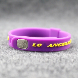 Snake baSketball online shopping - Top quality fashion jewelry basketball sport silicone balance bangle metal buckle size can adjust energy bracelet power wristband for lakers