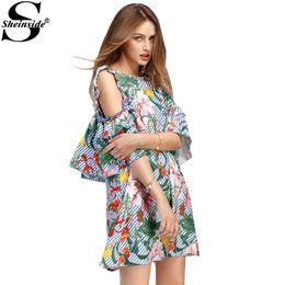 0e0f781e2b8 Summer Tropical Dresses NZ - x201711 Sheinside Tropical Ladies Summer  Dresses Sexy Open Shoulder Floral Stripe