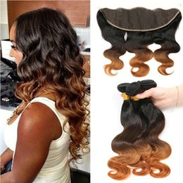 $enCountryForm.capitalKeyWord Canada - 9A Indian Ombre Swiss Lace Frontal Closure 13x4 With Three Tone 1B 4 30 Auburn Brown Ombre Body Wave Virgin Human Hair Bundles