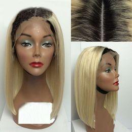 1B 613  Short Two Toned Human Hair Lace Wigs Cheap Bob Wigs Ombre Full Lace Wigs  Blonde Lace Front Bob For Black Women e9d2b5cd7d
