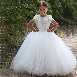 $enCountryForm.capitalKeyWord Australia - vestidos de daminha White Tulle Lace Appliques Ball Gown Long Flower Girl Dresses For Weddings 2018 Wedding Party Dresses