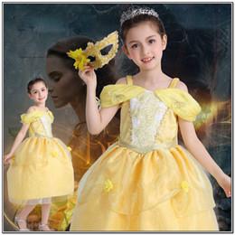 beast cosplay 2019 - girl kid princess belle dress Beauty and the Beast Halloween Costumes child Girl birthday gift Costume Dress Cosplay dis