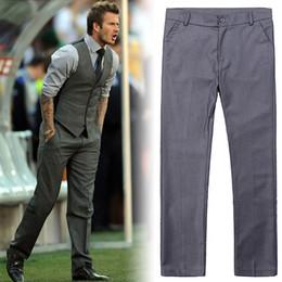 Discount wedding dresses men slim - Wholesale- Quality Men's Slim Fit Business Trousers mariage Suit Pant Wedding Pant Formal Grey Mens Dress Pants Off