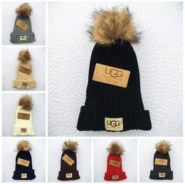 Skull ball capS online shopping - Cute Slouchy Chunky Soft Pom Knitted Hats Winter Warm Fur Ball Pom Pom Beanie Caps Colors LJJO3527