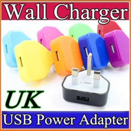 Discount usb charger uk pin - 2016 Colorfull UK 3 pins USB plug charger AC Home Wall charger Power Adapter for 3G 4G I9220 N7100 S5 I9600 H-SC