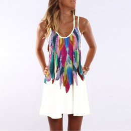 loose fitted dresses UK - Women'S Fashion Summer Plus Size Chiffon Feather Printed Boho Dress Loose Fit Sleeveless Spaghetti Strap Mini Dress WS804R