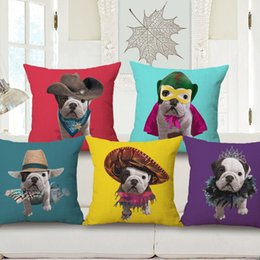 dog black animals cases Canada - animal dog cushion cover kawaii pug chaise sofa throw pillow case decorative bull terrier almofada 45cm cotton corgi cojines